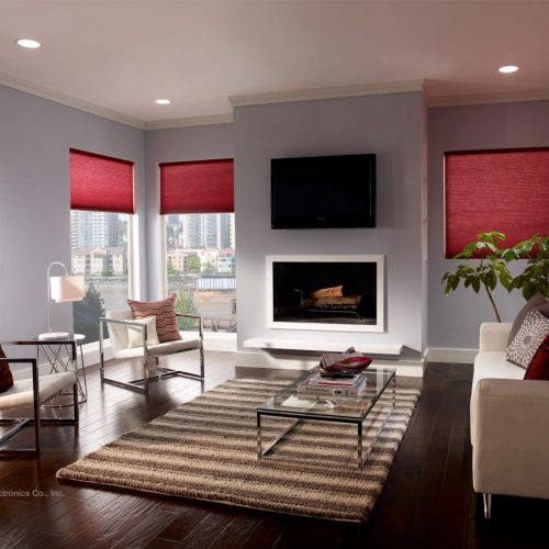 Lutron Electric Roller Blind - Honeycomb - Media Room - The Electric Blind Company