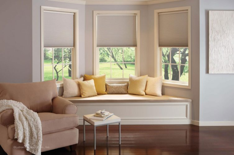 Lutron Electric Roller Blind - Honeycomb - Sitting Room - The Electric Blind Company