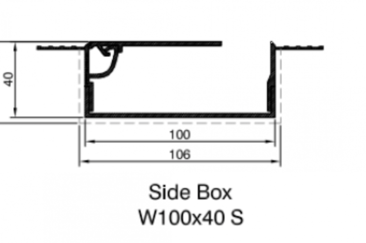 Blindspace Boxes - Technical Drawing Side Box - The Electric Blind Company