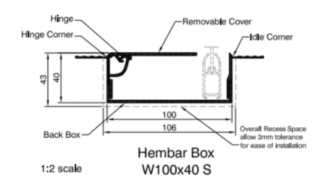 Blindspace Boxes - Technical Drawing Hembar Box - The Electric Blind Company