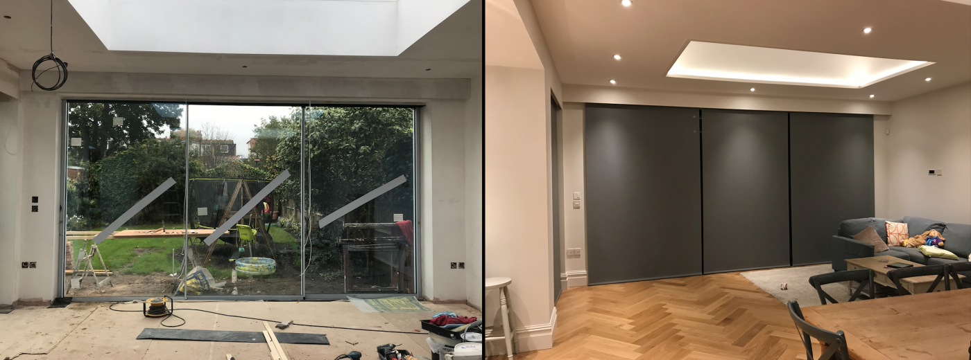 Before And After Electric Roller Blinds Fitted In