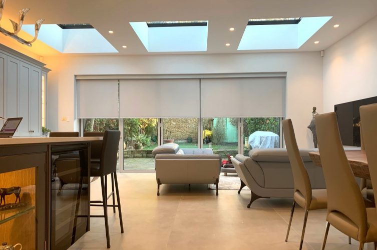 Electric Blinds For Bifold Doors - Kitchen Diner - The Electric Blind Company copy