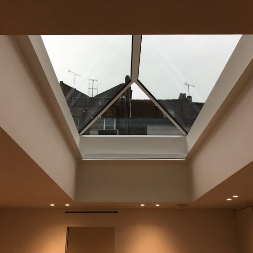 Roof Lantern Electric Blinds Fitted in Marylebone, London - Open - The Electric Blind Company