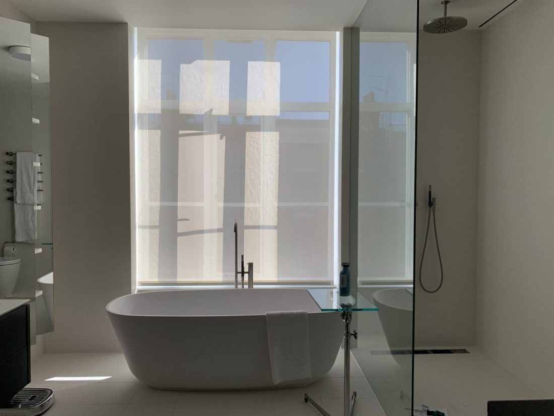 Sheer Motorised Blinds Fitted in Marylebone - Bathroom - London - The Electric Blind Company