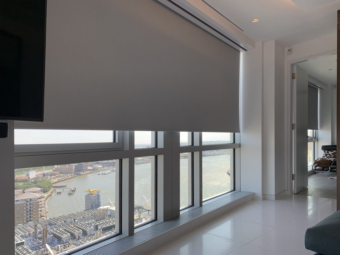 Motorised Blackout Blinds Installed by The Electric Blind Company At Canary Wharf London
