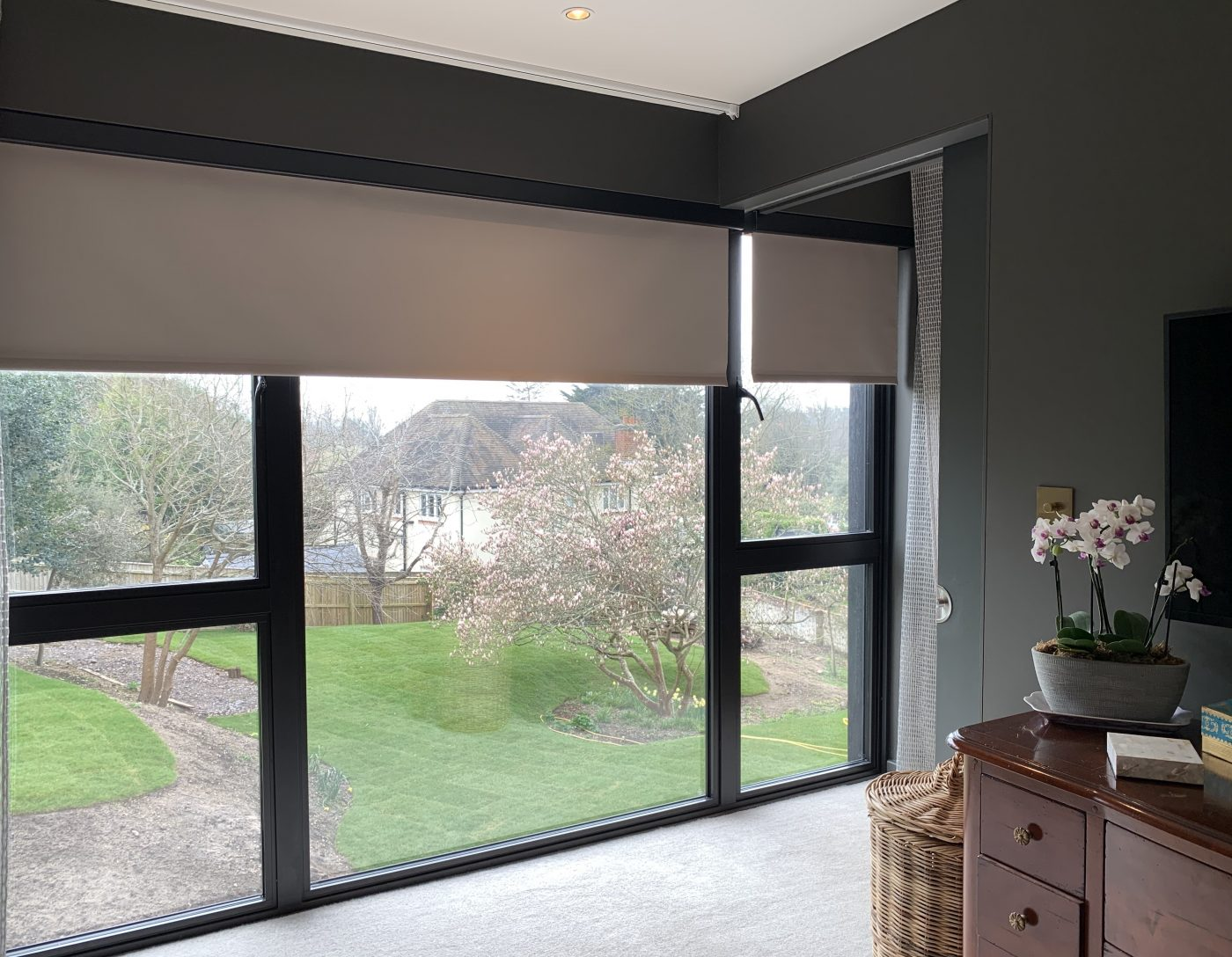 Concealed Electric Blinds Fitted in New Forest by The Electric Blind Company - White Roller Blind Down