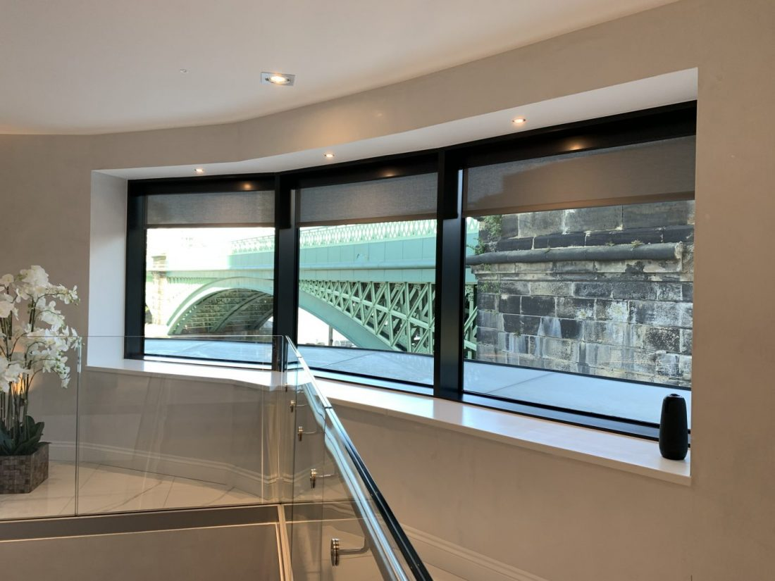 Battery Electric Blinds Fitted at Lombard Wharf Offices in London by The Electric Blind Company - bridge view