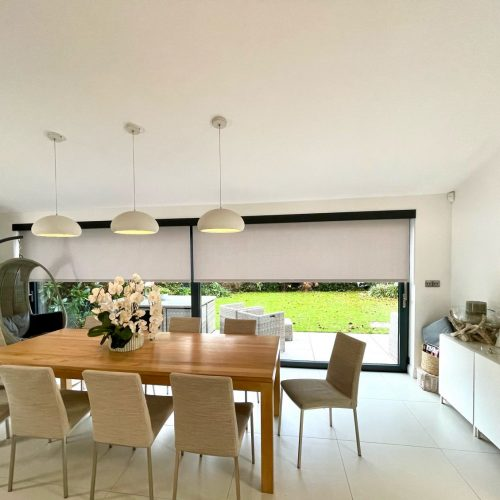 Concealed battery blinds with custom fascia fitted in London by The Electric Blind Company